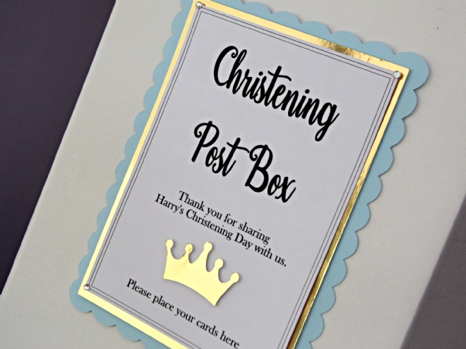 Blue & Gold Christening Card Postbox Sign